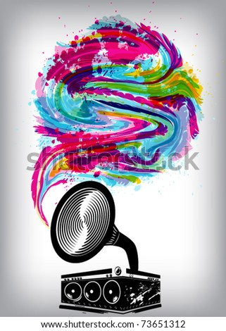 Music concept grunge background - stock vector