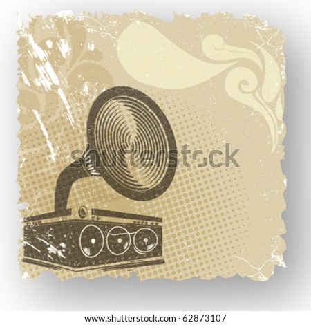 Music concept grunge background, gramophone - stock vector