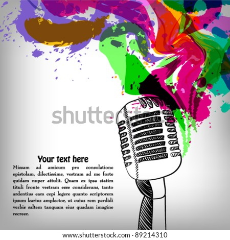 Music concept grunge background, microphone - stock vector