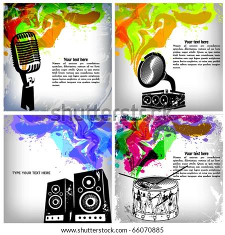 Music concept grunge background set - stock vector