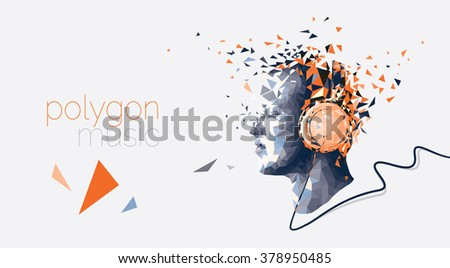 Music Concept Illustration with Polygon Art - Conceptual Music Illustration - Polygon Art - Listening Music Concept Illustration - stock vector
