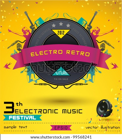 Music Concept, Retro Poster Template. - stock vector