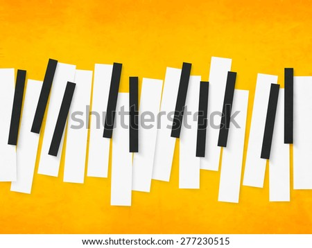 Music concept with black and white piano keys on yellow background. - stock vector
