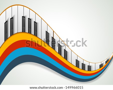 Music concept with piano on colorful wave background, can be use as flyer, poster, banner or background for musical parties and concert.  - stock vector