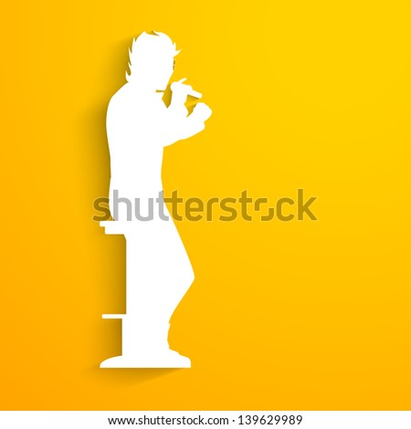 Music concept with white silhouette of a singer singing into microphone on yellow background. - stock vector