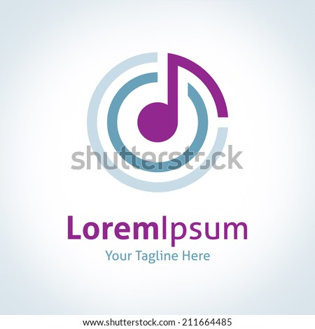 Music connecting the world logo logotype vector icon