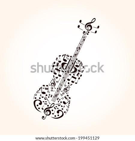 Music, contrabass concept made with musical symbols - stock vector