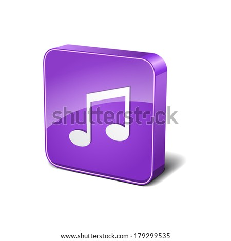 Music 3d Rounded Corner Violet Vector Icon Button