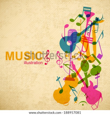 Music design concept. Background. Vector Illustration, eps10, contains transparencies. - stock vector
