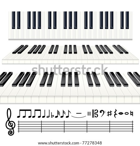 Music Design Elements - vector Piano keys or Organ keyboard with all note symbols icon set - stock vector