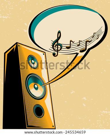 Music design - loudspeaker & speech bubble - stock vector