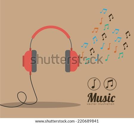 Music design over brown background, vector illustration - stock vector