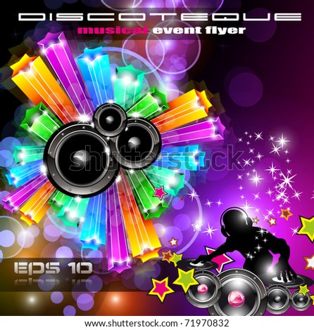 Music Disco Flyer for Dancing Event Posters with Rainbow Colours - stock vector