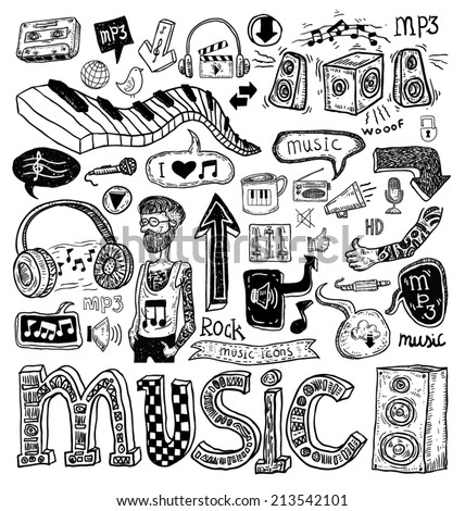 Music doodle collection, hand drawn illustration. - stock vector