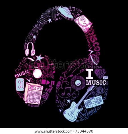 Music doodles in the shape of a earphones - stock vector