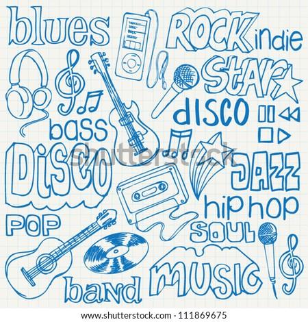 Music doodles vector - stock vector