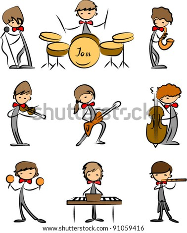 Music Doodles,vector drawing - stock vector
