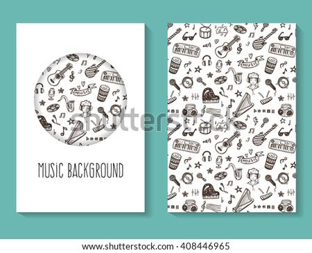 Music doodles vector flyer, brochure, business card template - stock vector