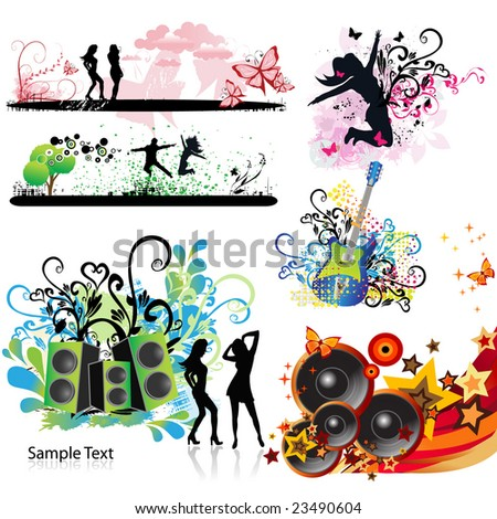 Music elements - stock vector