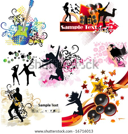 Music elements. To see more MUSIC elements, please VISIT MY GALLERY - stock vector