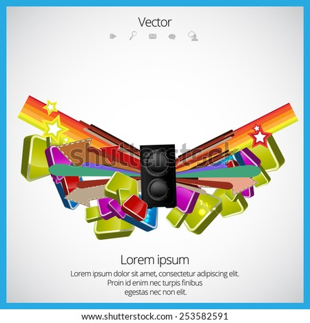 Music elements, vector - stock vector