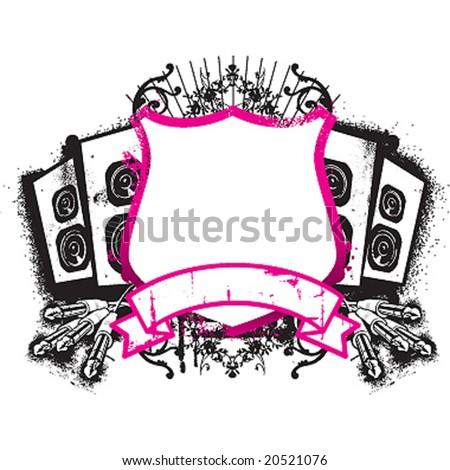 music emblem - stock vector