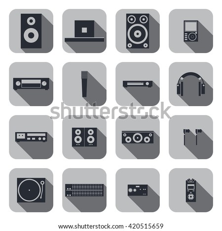 music equipment. music tools. set icon of music equipment. music icon with long shadow. - stock vector