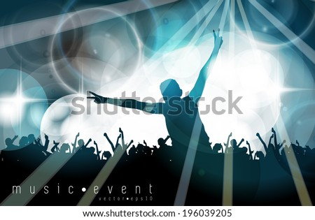 Music event illustration. Young people dancing on concert. Editable vector - stock vector