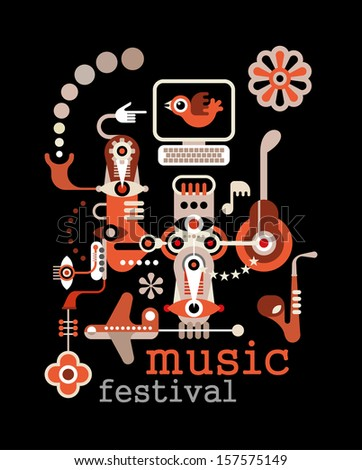 "Music Festival - abstract vector illustration on black background. Artwork placard with text ""Music Festival""."