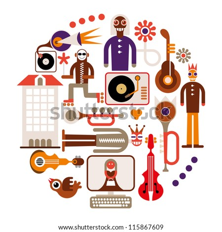 Music Festival - abstract vector round illustration on white background.