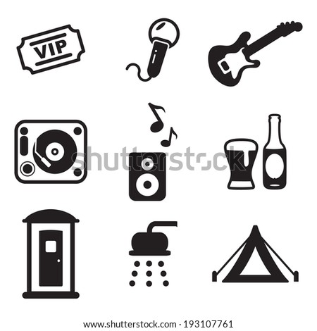 Music Festival Icons - stock vector
