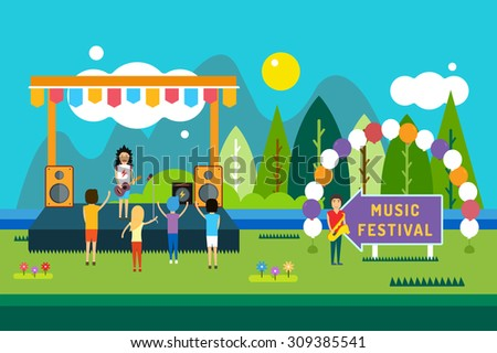 Music festival outdoor illustration. Landscape horizontal. Abstract people silhouette playing music. Song and sing, party and dj, musician, concert, people, fun. Outdoor party music festival scene - stock vector