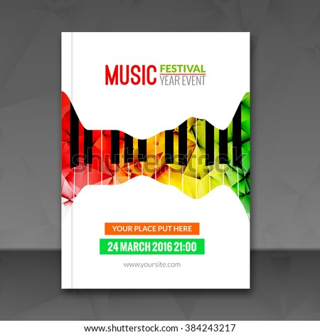 Music Festival Poster Background Flyer Template Stock Vector