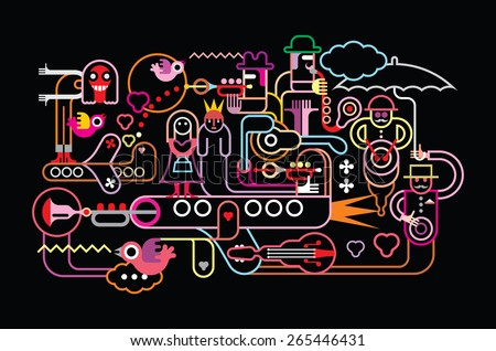 Music festival vector illustration. Neon colors silhouettes on black background.  - stock vector