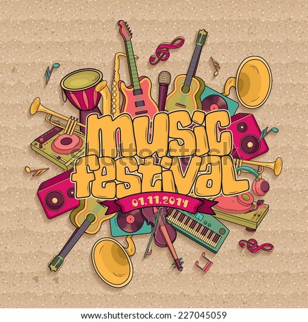 Music festival. Vector music background - stock vector