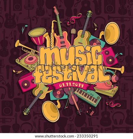 Music festival. Vector music background - stock vector