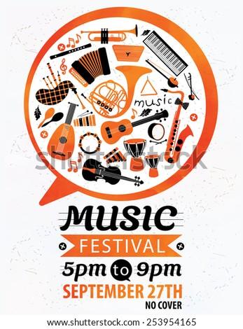 Music festival. Vector music flyer. - stock vector