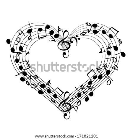 music from heart sketch cartoon vector illustration - stock vector