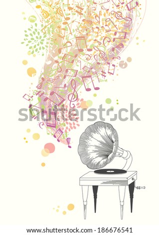 Music from the Gramophone - stock vector