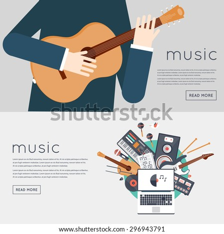 Music gadgets and instruments. Man playing an acoustic guitar. Musician, DJ workplace. Vector illustration in flat style. Sound production.  - stock vector