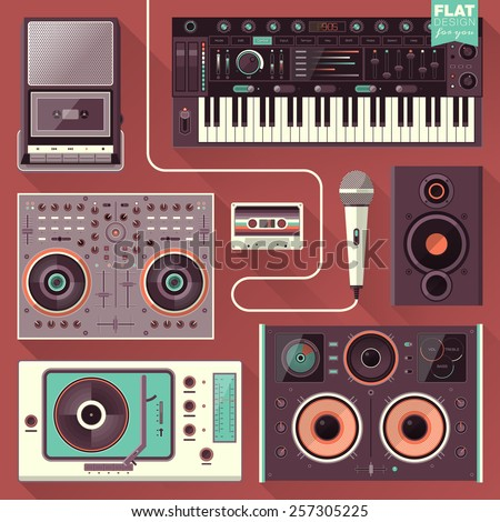 Music gadgets & instruments illustration concept in flat design. Music, sound production, technology icons.