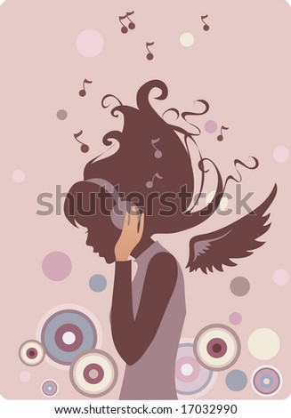 Music girl - stock vector
