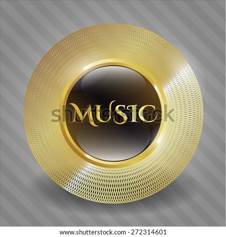 Music gold shiny badge - stock vector