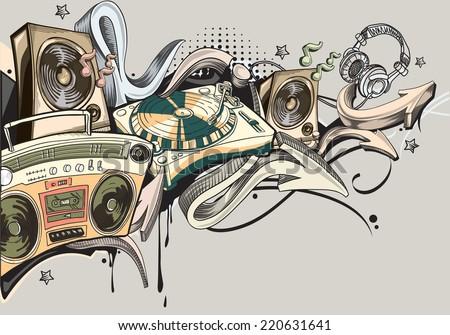 Music graffiti - stock vector