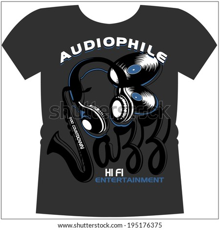 music graphic for t-shirt - stock vector