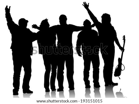 Music group with arms raised on stage - stock vector