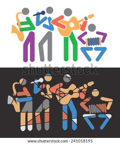 Music groups colorful cartoons. Music group with guitarist, singer, saxophonist and accordionist.Vector illustration.  - stock vector