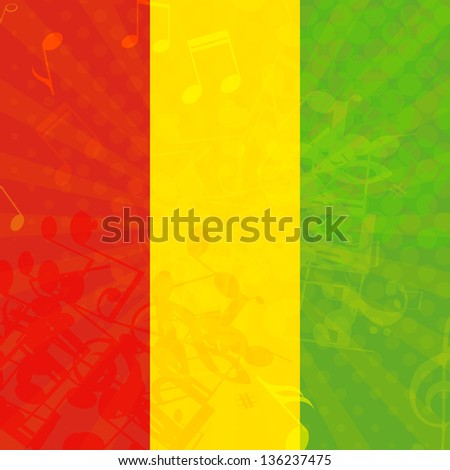 Music grunge background with flag of Ethiopia. Vector illustration. - stock vector