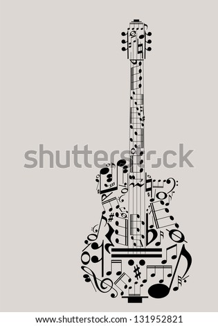 Music guitar concept made with musical symbols for poster design - stock vector