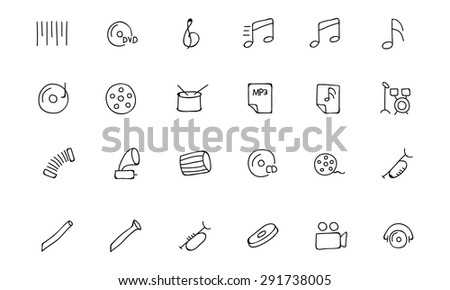 Music Hand Drawn Doodle Icons 2 - stock vector